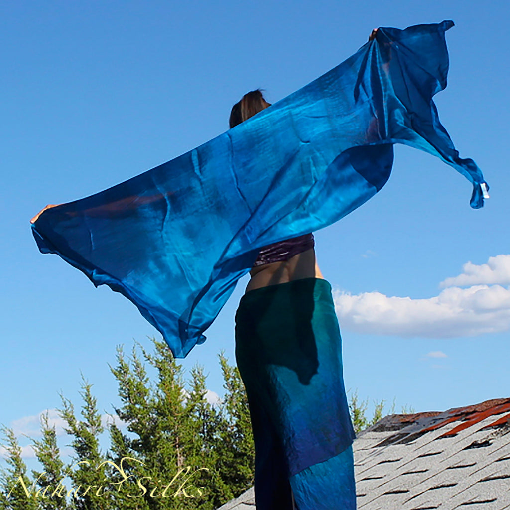Nahari Silks Womens 100% Silk Dance Scarves Shawls Wraps Blended Colors Deep Blue Teal