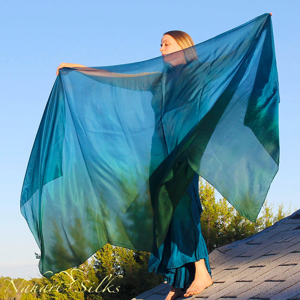 Nahari Silks Womens Hand-Dyed Silk Circle Skirt and Veil Set Deep Tropics Blend