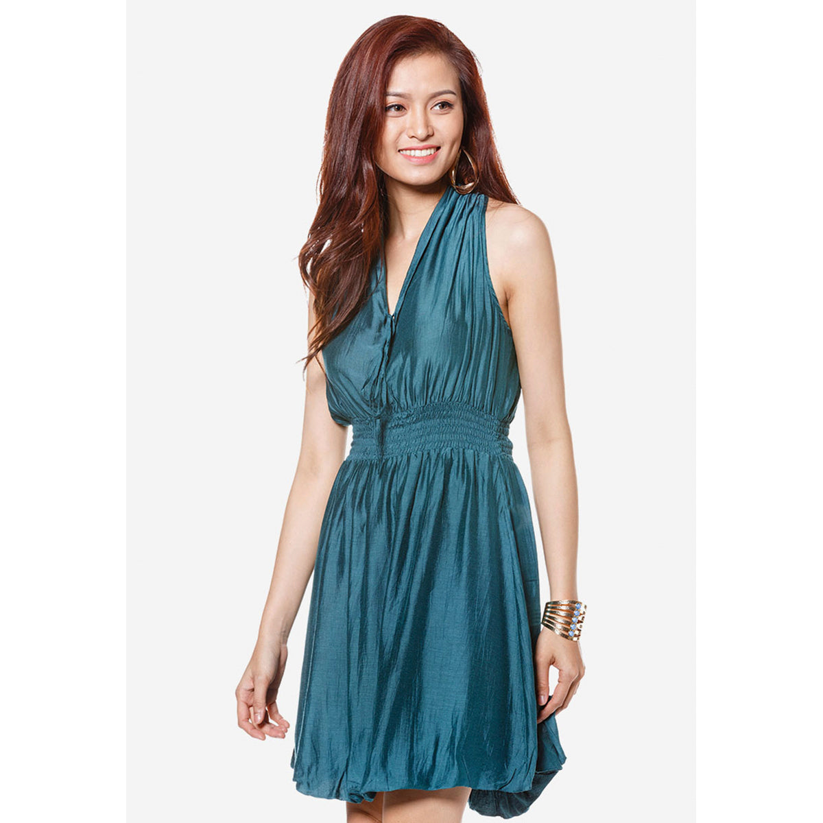 Short Halter Dress Silk Blend