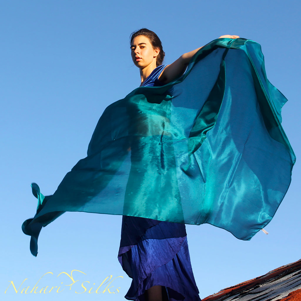 Nahari Silks Womens 100% Silk Dance Scarves Shawls Wraps Solid Colors Emerald Teal