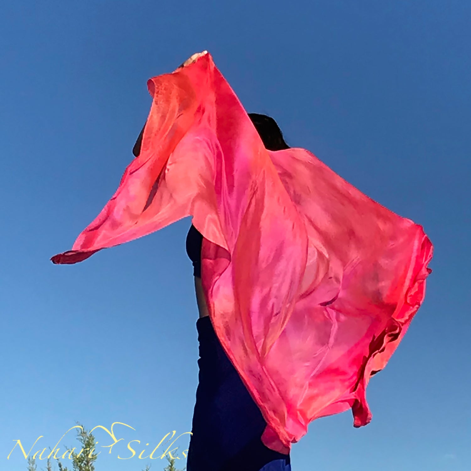Nahari Silks Womens 100% Silk Dance Scarves Shawls Wraps Blended Colors Fire