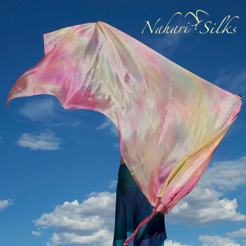 Nahari Silks Womens 100% Silk Dance Scarf Shawl  Blended Color Flower Song
