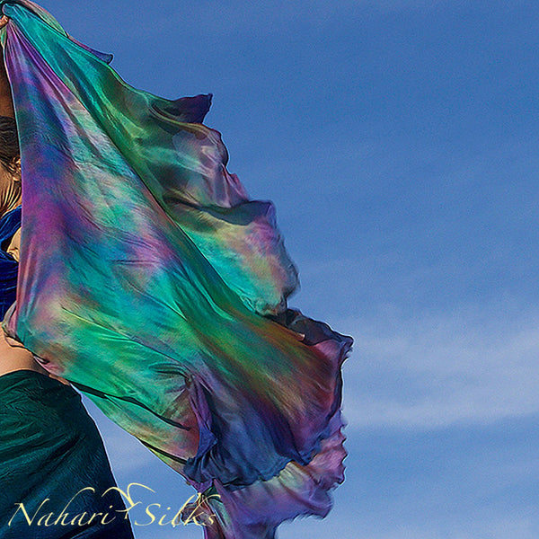 Nahari Silks Womens 100% Silk Dance Scarf Shawl  Blended Color Green Planet