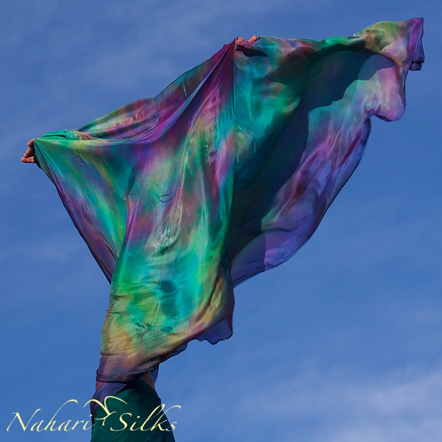 100% Silk Dance Scarf Shawl Blended Color Green Planet