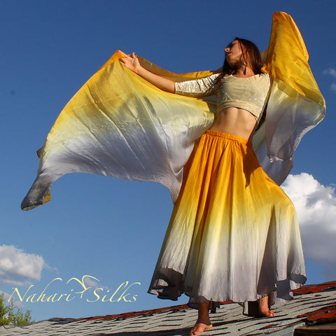 Nahari Silks Silk Circle Skirt & Silk Dance Veil Gold Silver