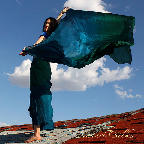 Nahari Silks Silk Circle Skirt & Silk Dance Veil Emerald Blend