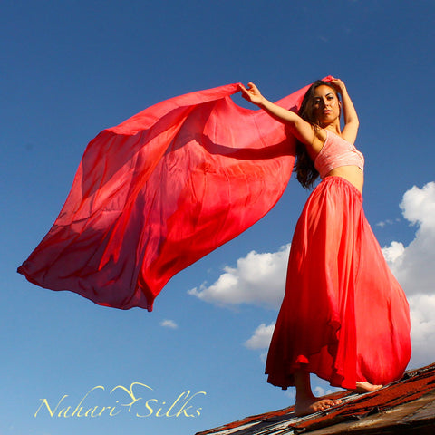 Nahari Silks Silk Circle Skirt & Silk Dance Veil Light Red Blend