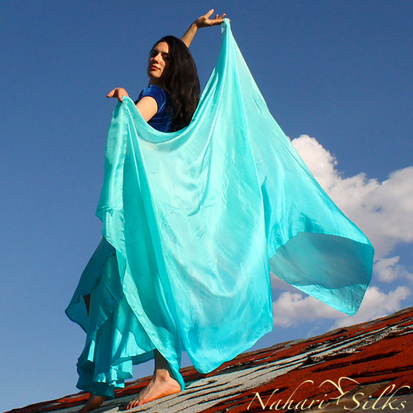 Nahari Silks Silk Circle Skirt & Silk Dance Veil Neptune