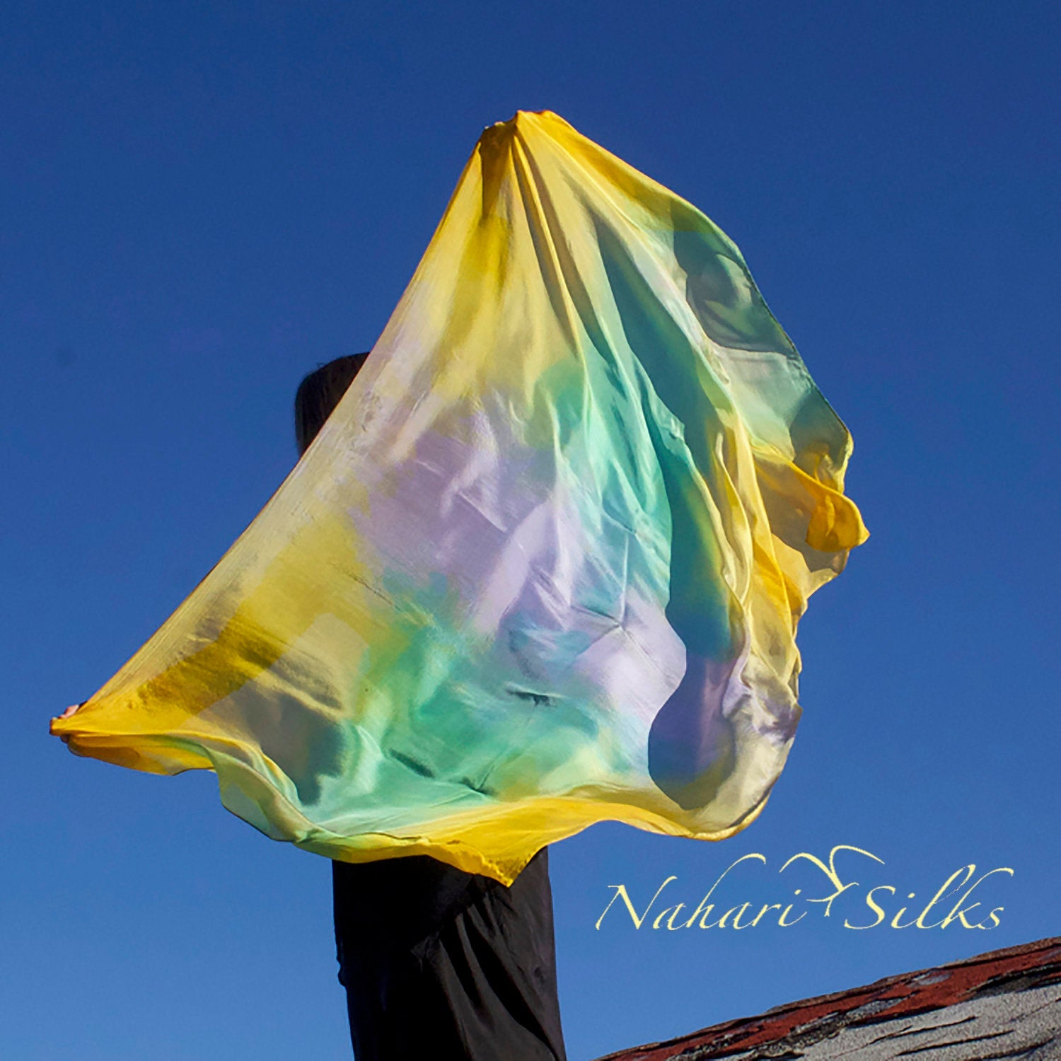 Nahari Silks Womens 100% Silk Dance Scarf Shawl  Blended Color Yellow Reef  82""