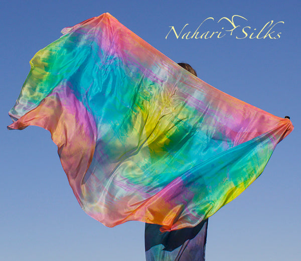 Nahari Silks Womens 100% Silk Dance Scarf Shawl  Blended Color Gem Stone 82""
