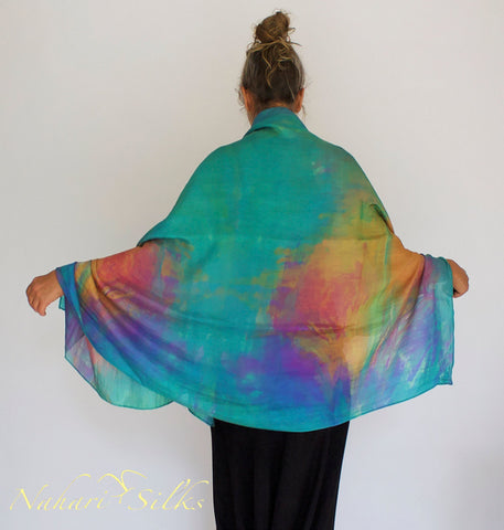 Nahari Silks Hand Dyed Silk Sarongs, Wraps, Shawls Coral Reef