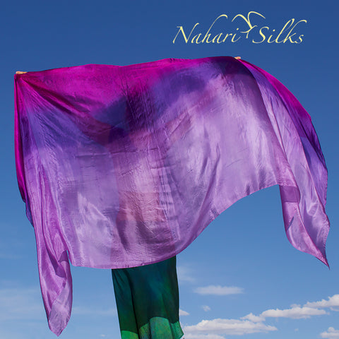 Nahari Silks Womens 100% Silk Dance Scarf Shawl  Blended Color Iris Flower