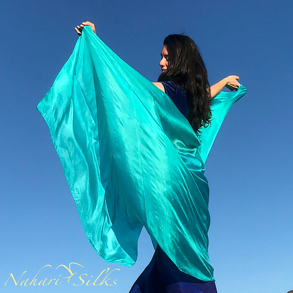 Nahari Silks Womens 100% Silk Dance Scarves Shawls Wraps Solid Colors Light Teal
