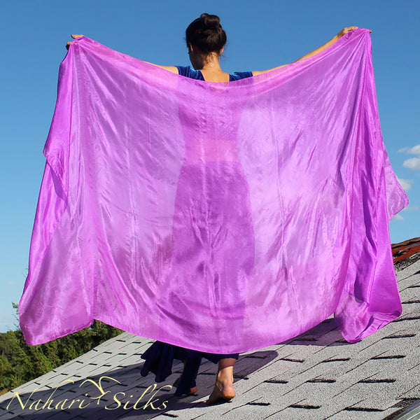 Nahari Silks Womens 100% Silk Dance Scarves Shawls Wraps Solid Colors Lilac