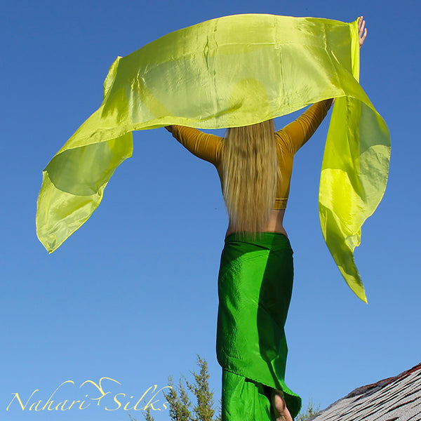 Nahari Silks Womens 100% Silk Dance Scarves Shawls Wraps Solid Colors Lime