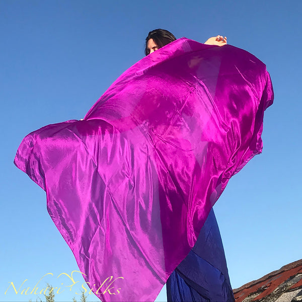 Nahari Silks Womens 100% Silk Dance Scarves Shawls Wraps Solid Colors Magenta