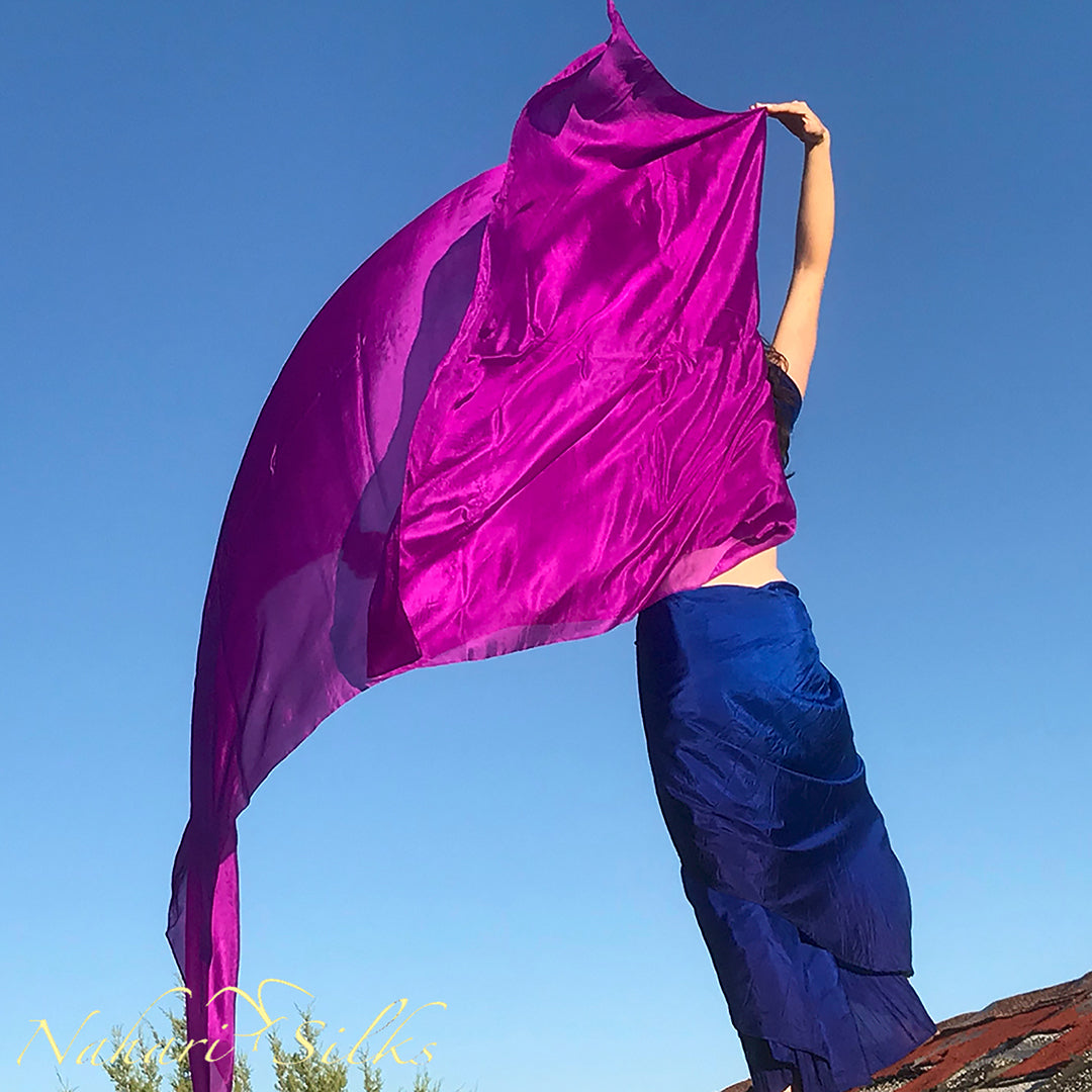 belly dance veil for belly dance costume. Silk belly dance veil, dance scarf magenta. handdyed by artist owned business.