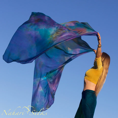 Nahari Silks Womens 100% Silk Dance Scarves Shawls Wraps Blended Colors Oil