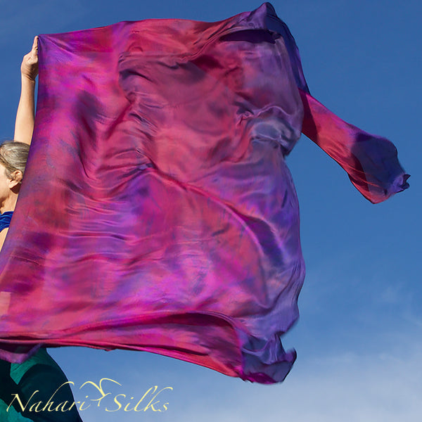 Nahari Silks Womens 100% Silk Dance Scarves Shawls Wraps Blended Colors Pink Flame Storm