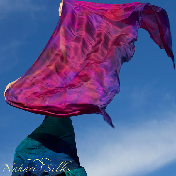 Nahari Silks Womens 100% Silk Dance Scarf Shawl  Blended Color Pink Flame Storm
