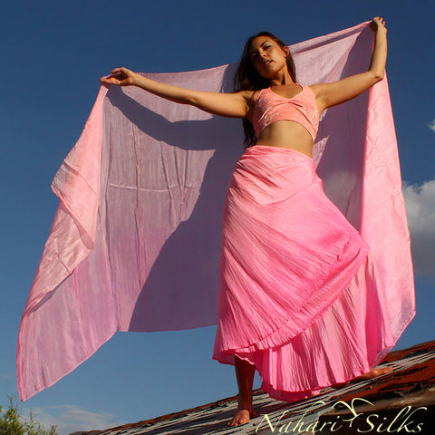 Nahari Silks Womens Hand-Dyed Silk Circle Skirt and Veil Set Pinkish