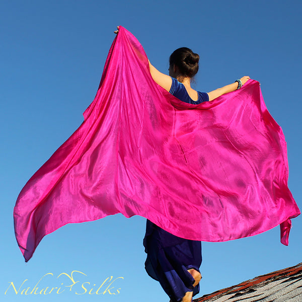 Nahari Silks Womens 100% Silk Dance Scarves Shawls Wraps Solid Colors Pink Power