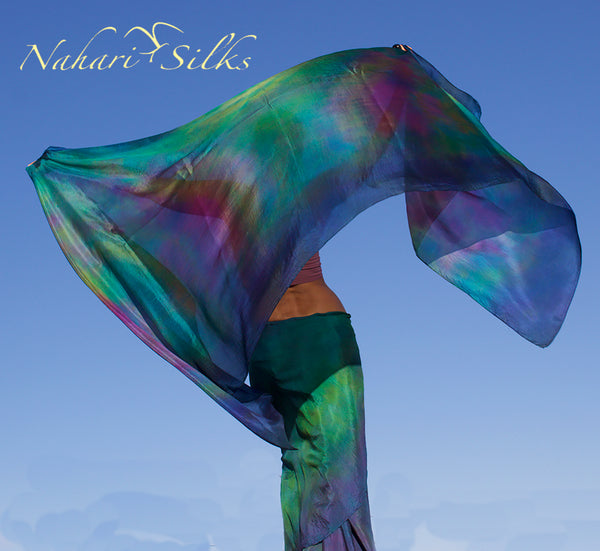 Nahari Silks Womens Hand-Dyed Silk Circle Skirt and Veil Set Planet