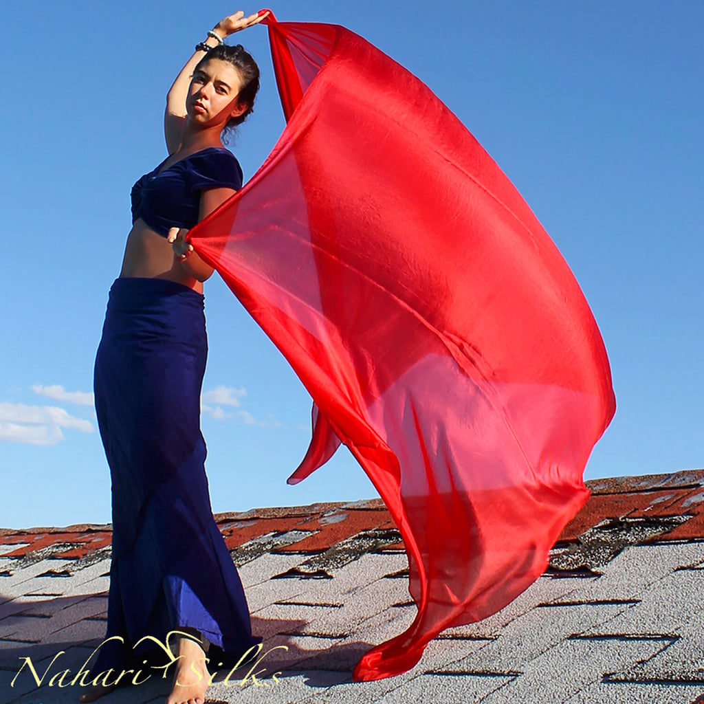 Nahari Silks Belly Dance Veil Silk Color Red