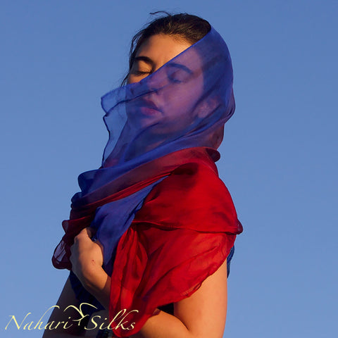 Nahari Silks Womens Hand-Dyed Silk Chiffon Scarf Red Blue