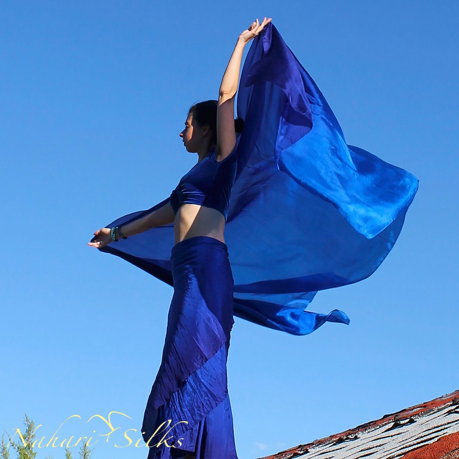 Nahari Silks Womens Hand-Dyed Silk Circle Skirt and Veil Set Royal Blue Blend