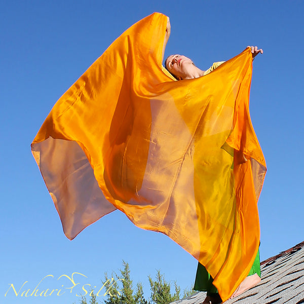 Nahari Silks Belly Dance Veil Silk Saffron