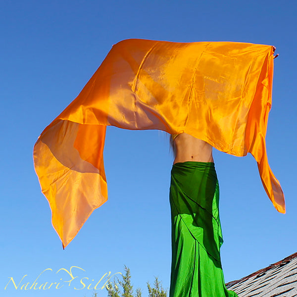 Nahari Silks Womens 100% Silk Dance Scarves Shawls Wraps Solid Colors Saffron