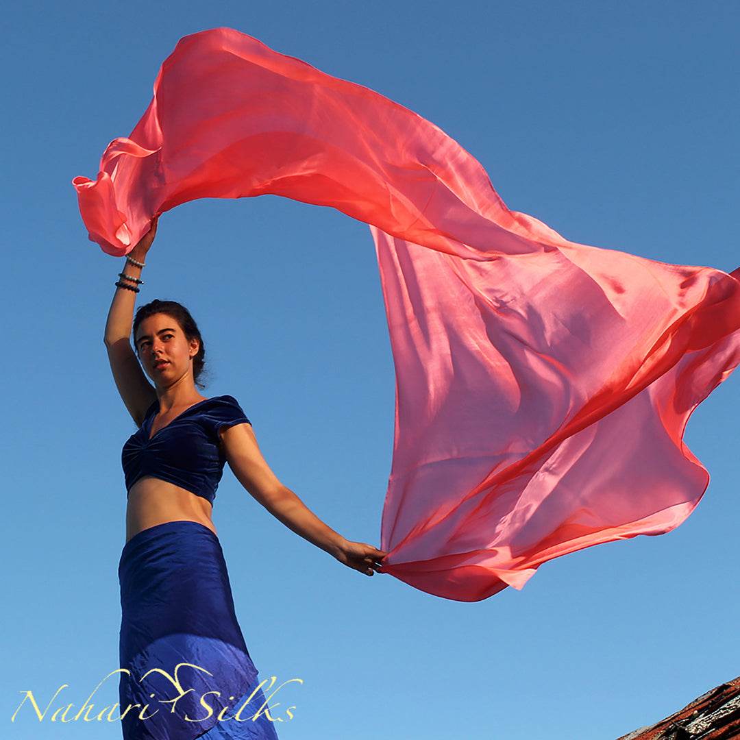 belly dance veil for belly dance costume. Silk belly dance veil, dance scarf salmon hand dyed by artist owned business