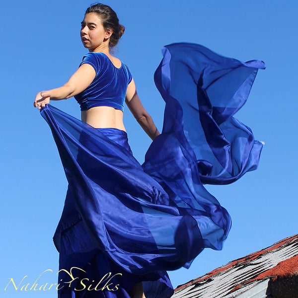 Nahari Silks Womens 100% Silk Dance Scarves Shawls Wraps Solid Colors Midnight Blue