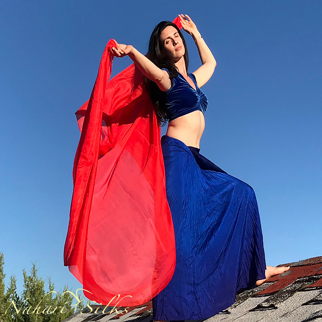 belly dance veil for belly dance costume. Silk belly dance veil, dance scarf scarlet  hand dyed by artist owned business