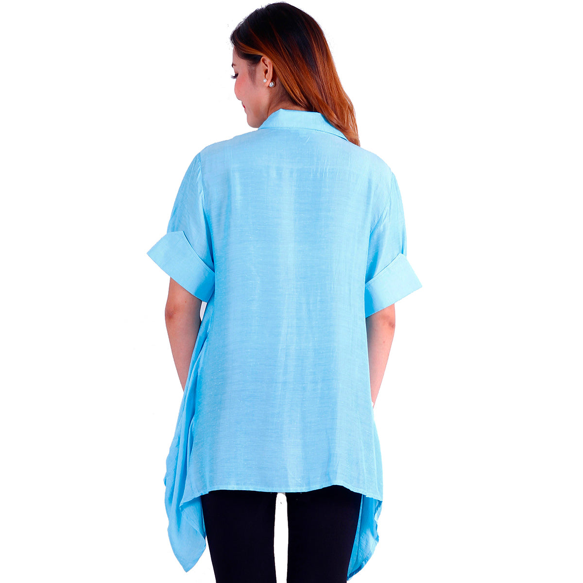 women's silk button shirt summer light blue