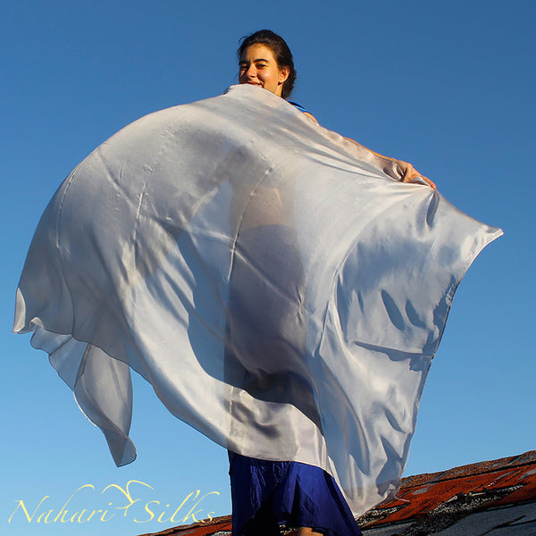 Nahari Silks Womens 100% Silk Dance Scarves Shawls Wraps Solid Colors Silver