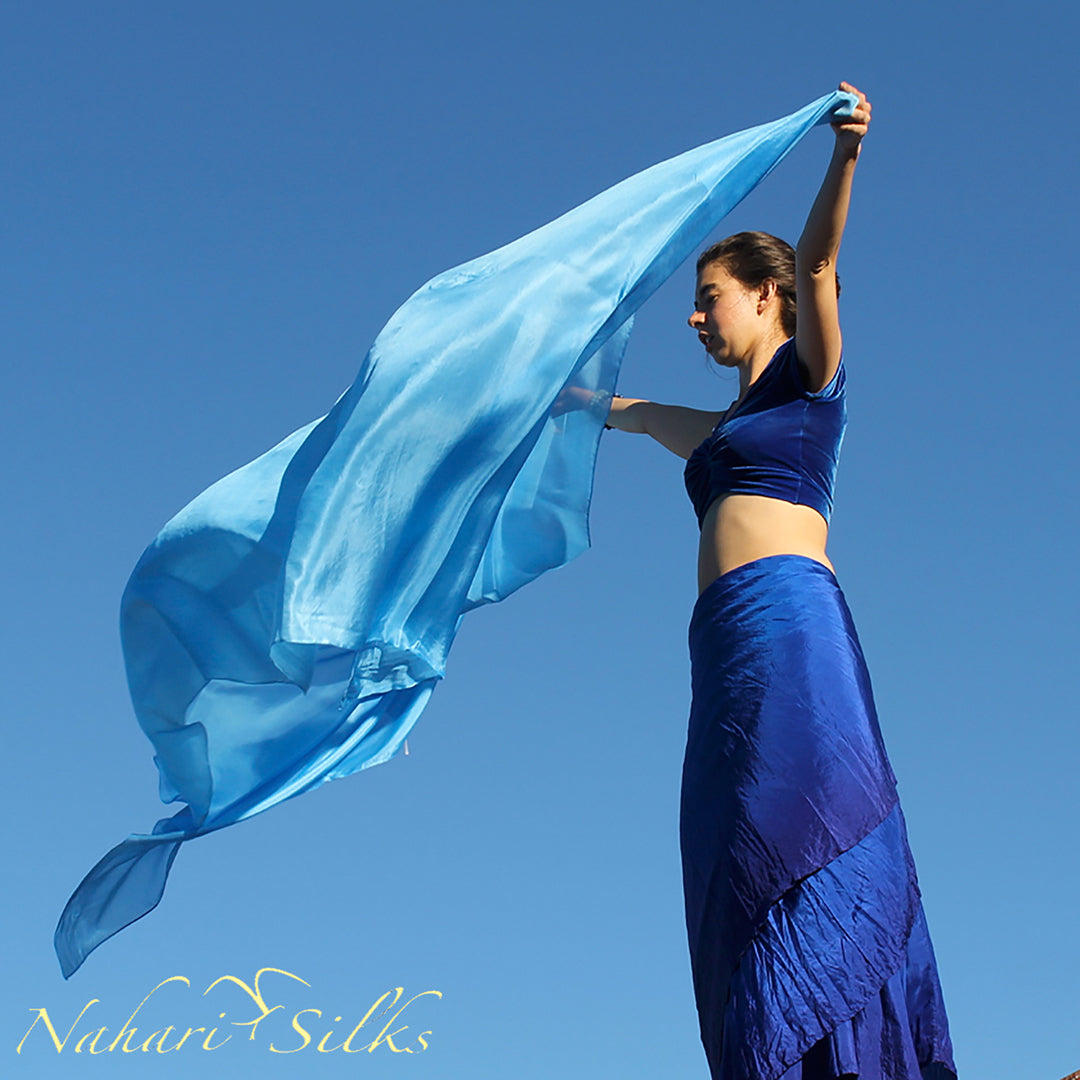 belly dance veil for belly dance costume. Silk belly dance veil, dance scarf light blue hand dyed by artist owned business