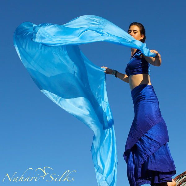Nahari Silks Womens 100% Silk Dance Scarves Shawls Wraps Solid Colors Skywater.