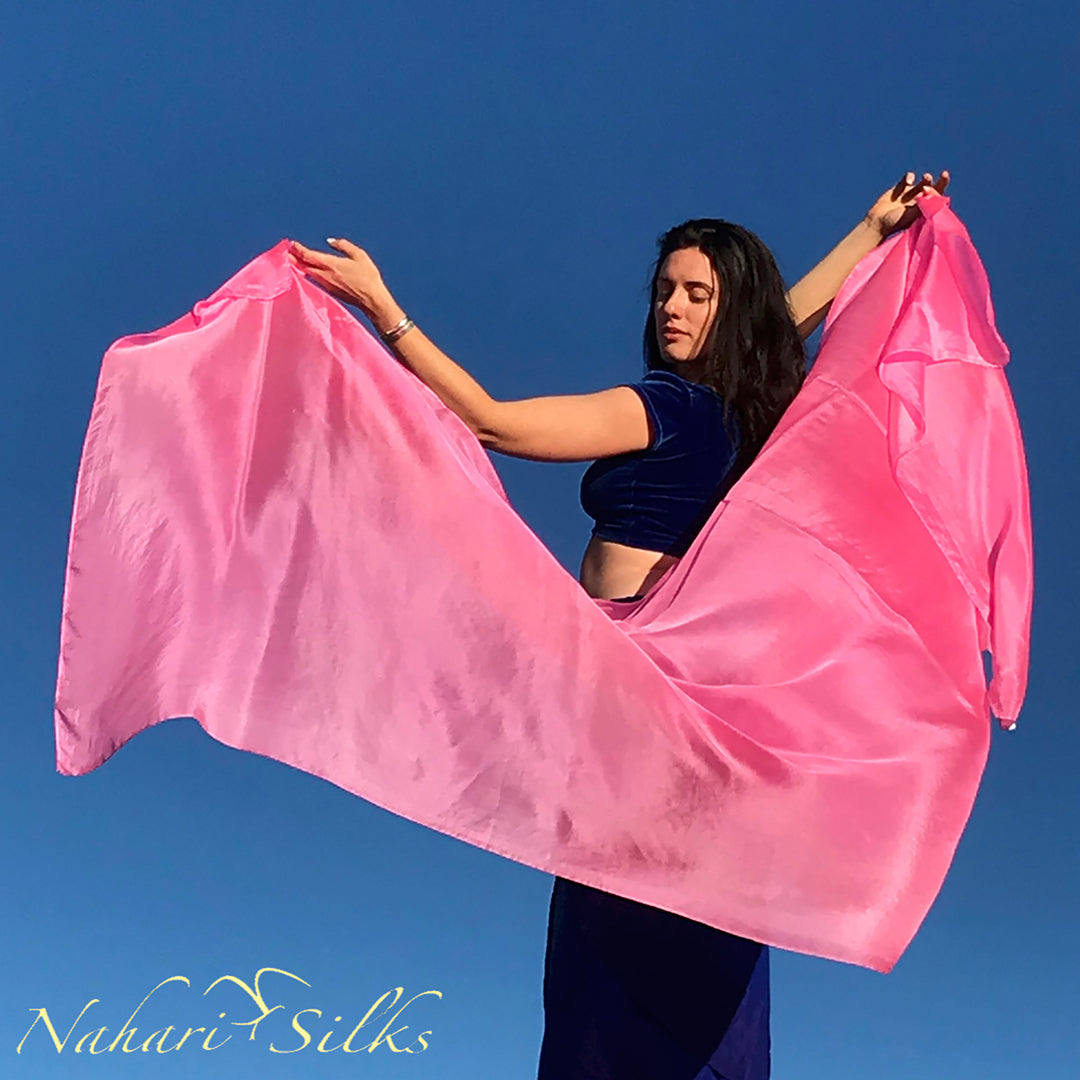 belly dance veil for belly dance costume. Silk belly dance veil, dance scarf light pink hand dyed by artist owned business
