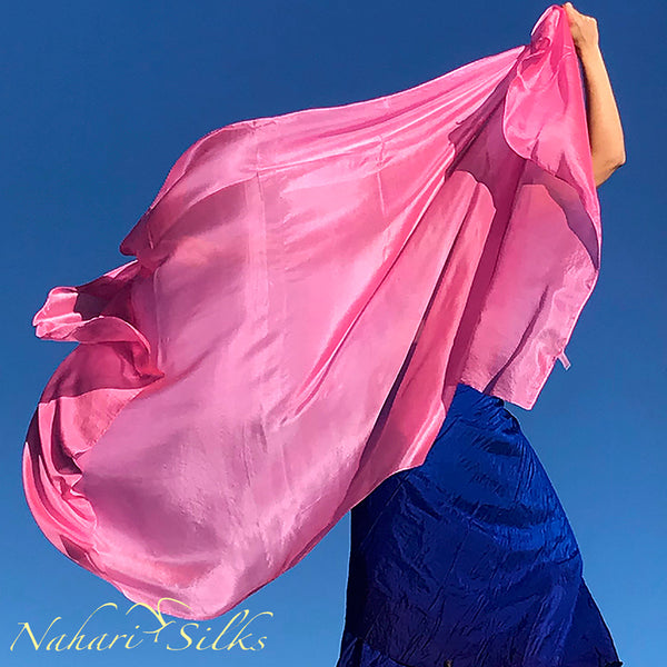 Nahari Silks Womens 100% Silk Dance Scarves Shawls Wraps Solid Colors Soft Pink