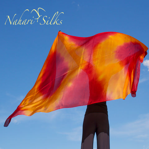 Nahari Silks Womens 100% Silk Dance Scarf Shawl  Blended Color Sunset Circles
