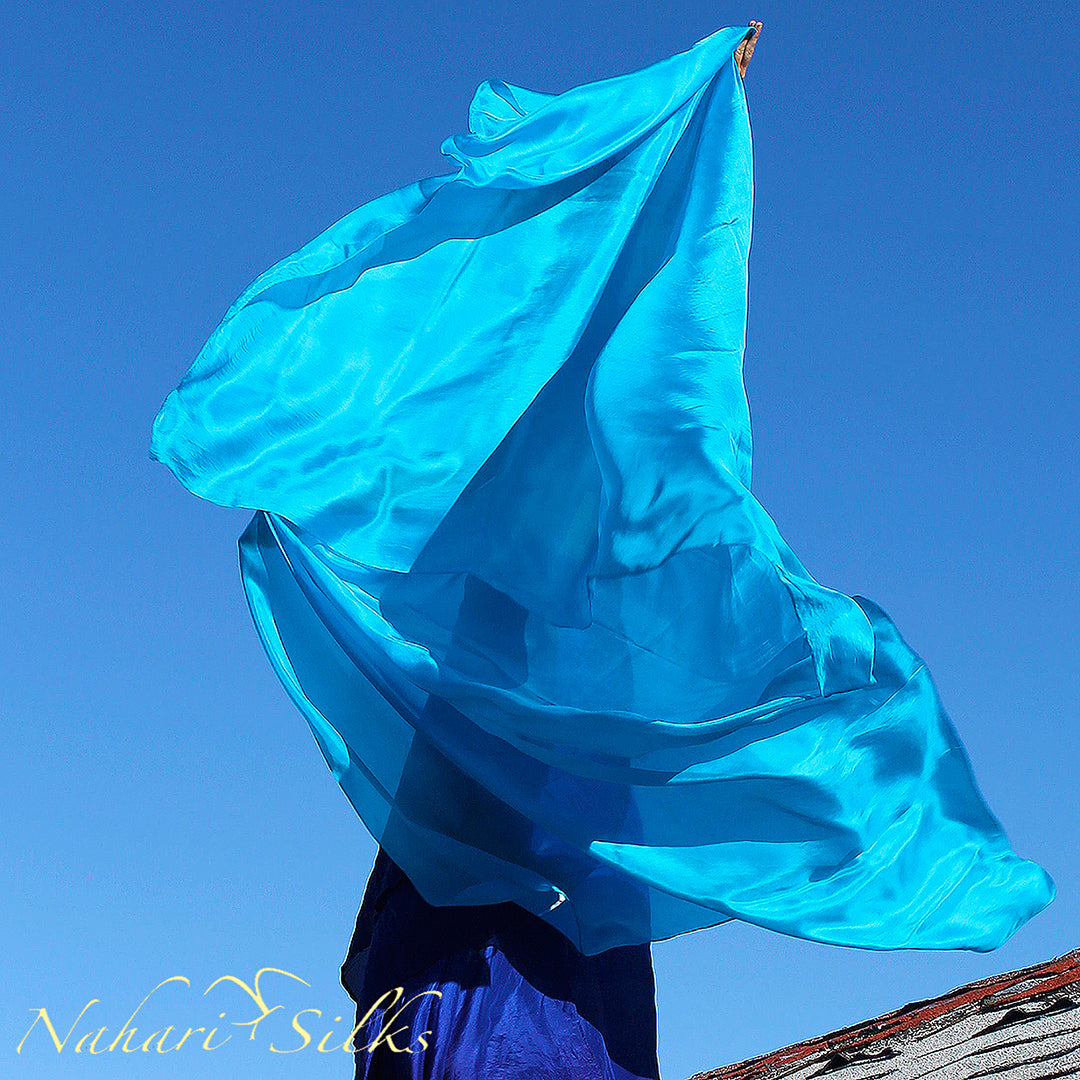 belly dance veil for belly dance costume. Silk belly dance veil, dance scarf turquoise hand dyed by artist owned business
