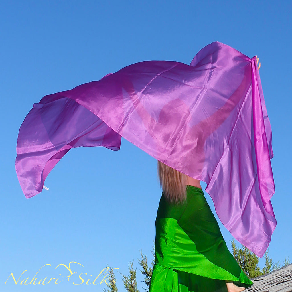 Nahari Silks Belly Dance Veil Silk Violeta
