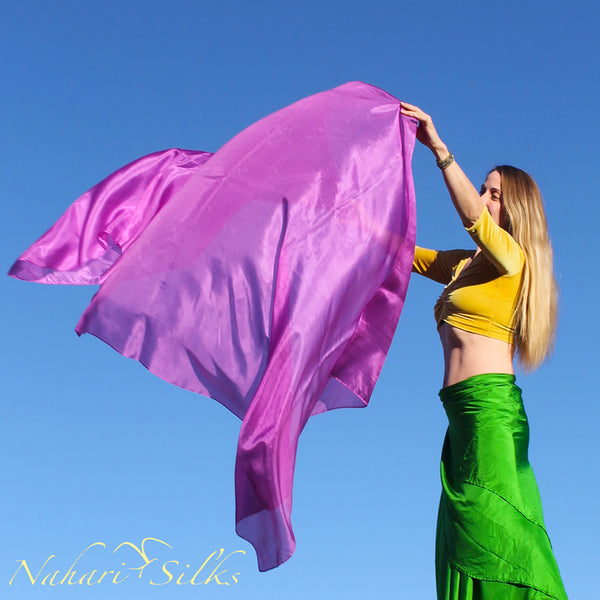 Nahari Silks Womens 100% Silk Dance Scarves Shawls Wraps Solid Colors Violeta