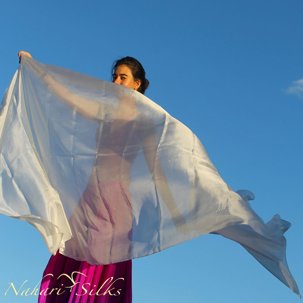Nahari Silks Belly Dance Veil Silk White