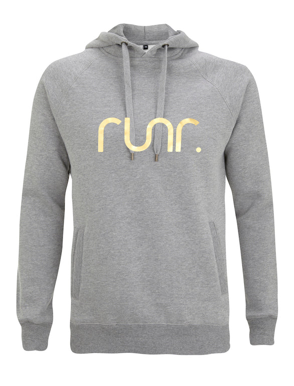 Men's Grey & Gold Runr Hoodies