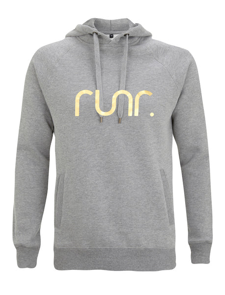 Women's Grey & Gold Runr Hoodies
