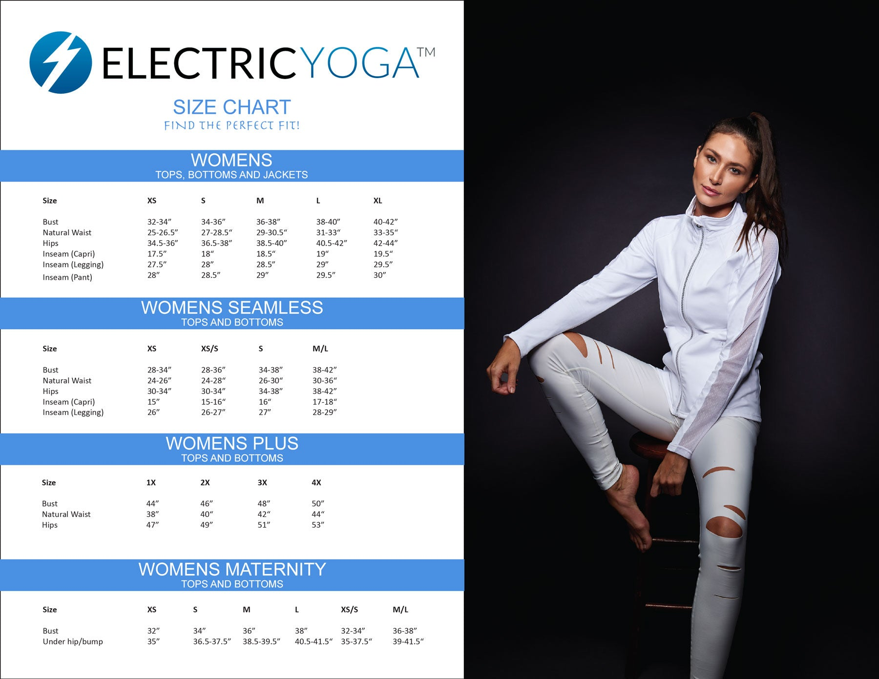 Electric Yoga Size Guide General