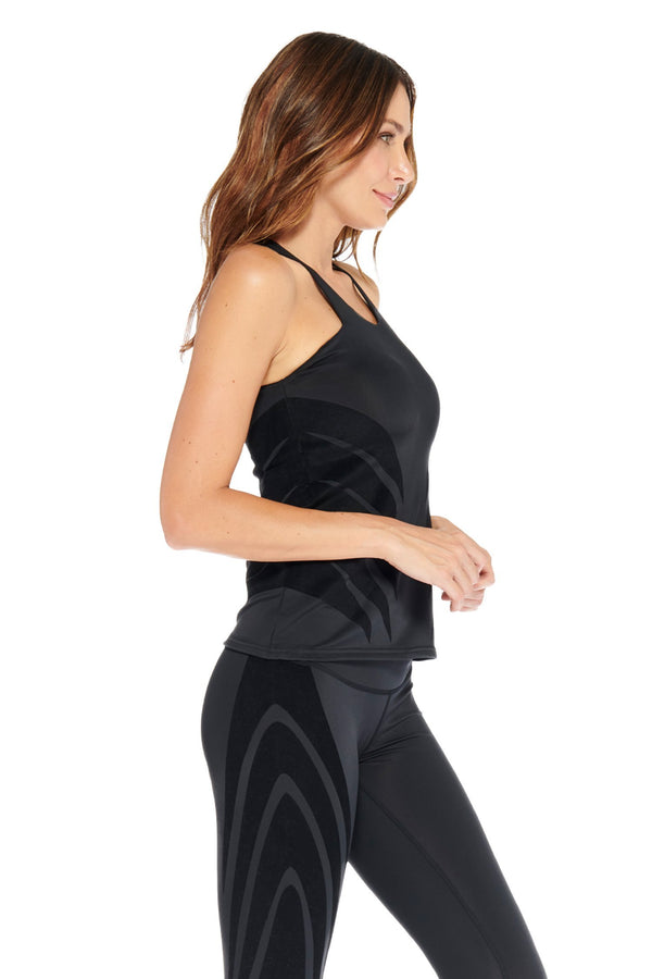 Luxy Velvet Flocked Top Electric Yoga